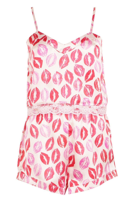 camisola y Conjunto de en con encaje rosa estampado short labios de wrXInIqfp