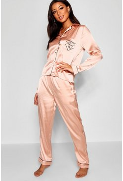 Brunch Club Embroidered Satin PJ Set, Rose gold