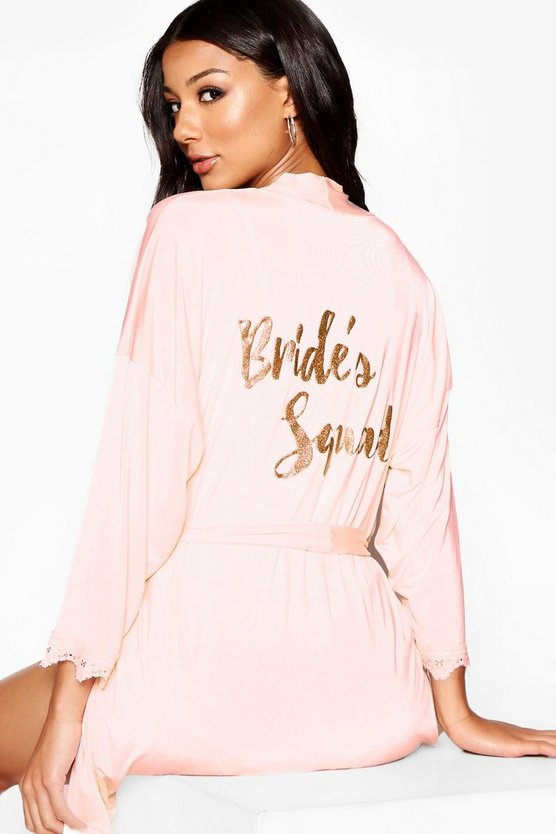 Womens Blush Glitter Brides Squad Robe