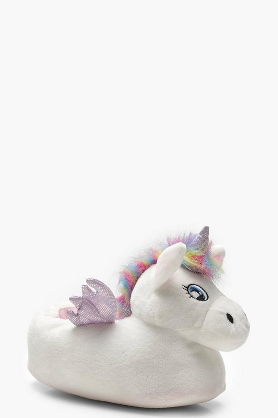 Womens White 3D Unicorn Slippers