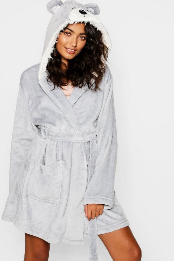 Womens Grey Glitter Bear Robe