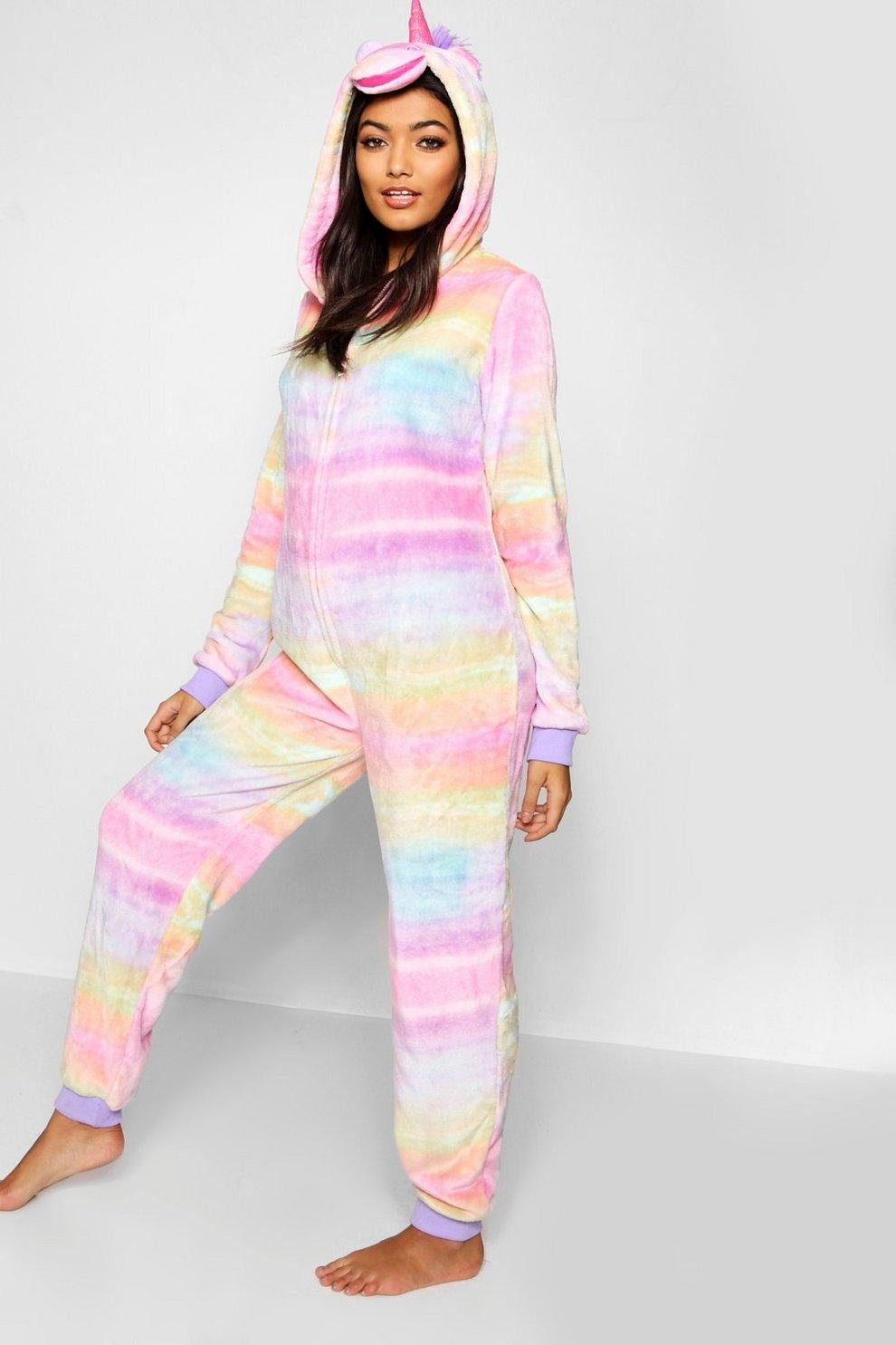 c04fc2135 Womens Pink Rainbow Unicorn Onesie