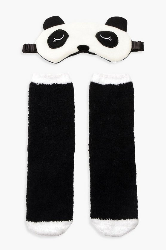Womens Black Panda Fluffy Bed Socks & Eyemask Set