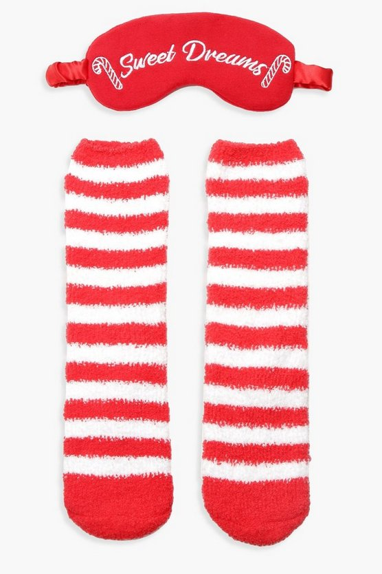 Candy Cane Fluffy Be Socks Eyemask Set