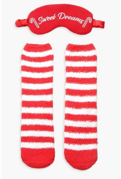 Womens Red Candy Cane Fluffy Be Socks Eyemask Set