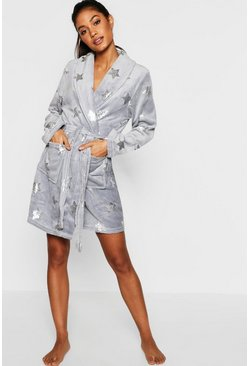 Womens Foil Star Print Dressing Gown