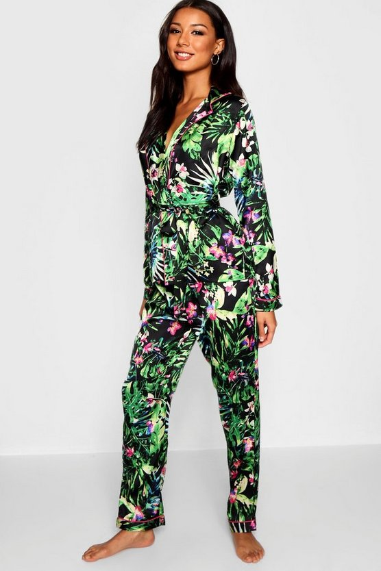 Oriental Palm Wrap Front Belted PJ