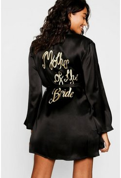 Black Mother of the Bride Embroidered Robe