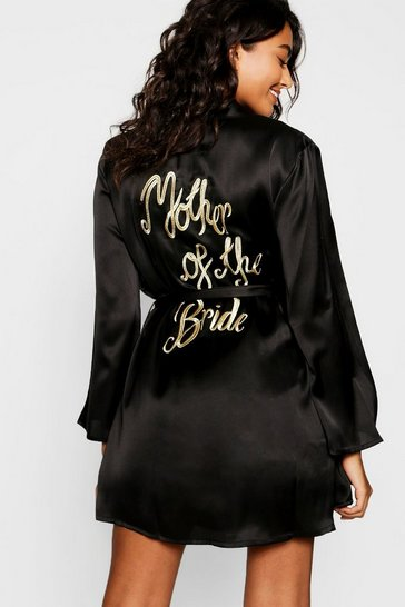 Womens Black Mother of the Bride Embroidered Robe