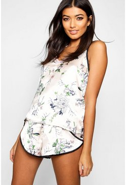 Womens Pink Floral Print Cami & Short Set