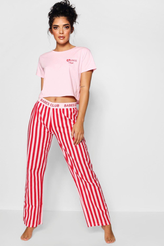 Stripe Set Babes red PJ Club 8W5BxxnCq