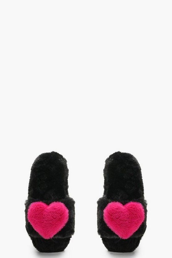 Black Fluffy 3D Heart Slippers