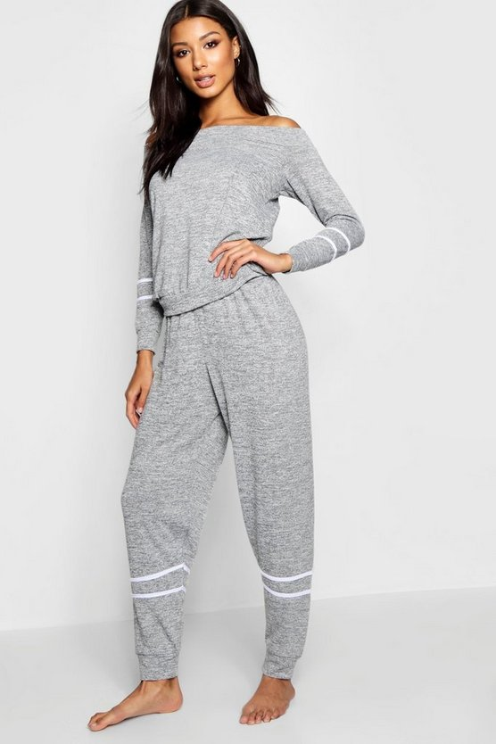 Slash Neck Stripe Lounge Set
