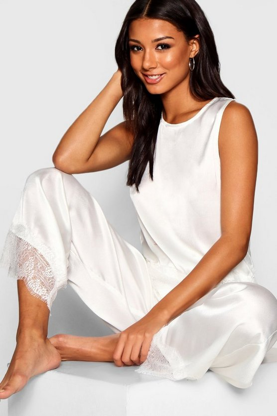 Womens Ivory Bride Lace & Satin PJ Set