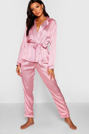 Womens Pink Stripe Wrap Front Belted PJ Set