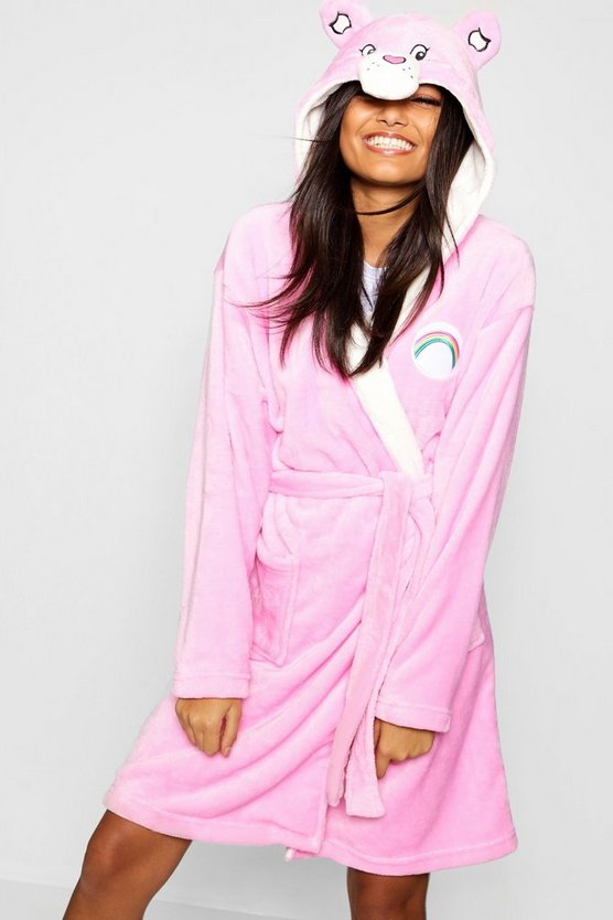 Womens Pink Care Bear Hooded Dressing Gown