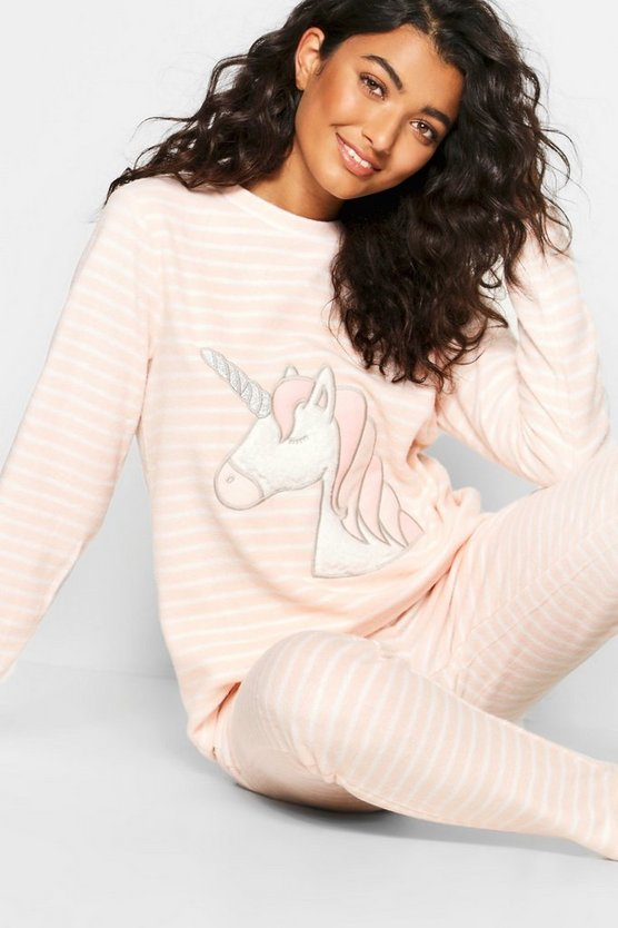 Womens Pink Stripe Unicorn Twosie