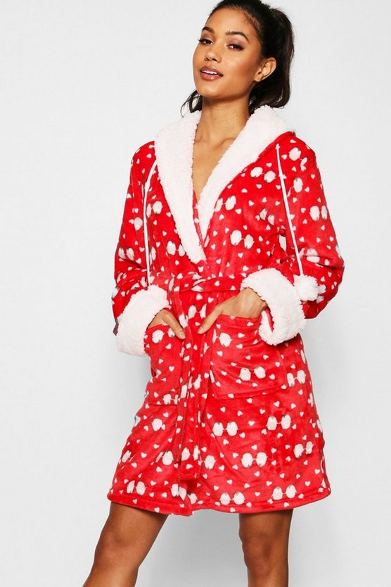 Womens Red Novelty Penguin Print Gown