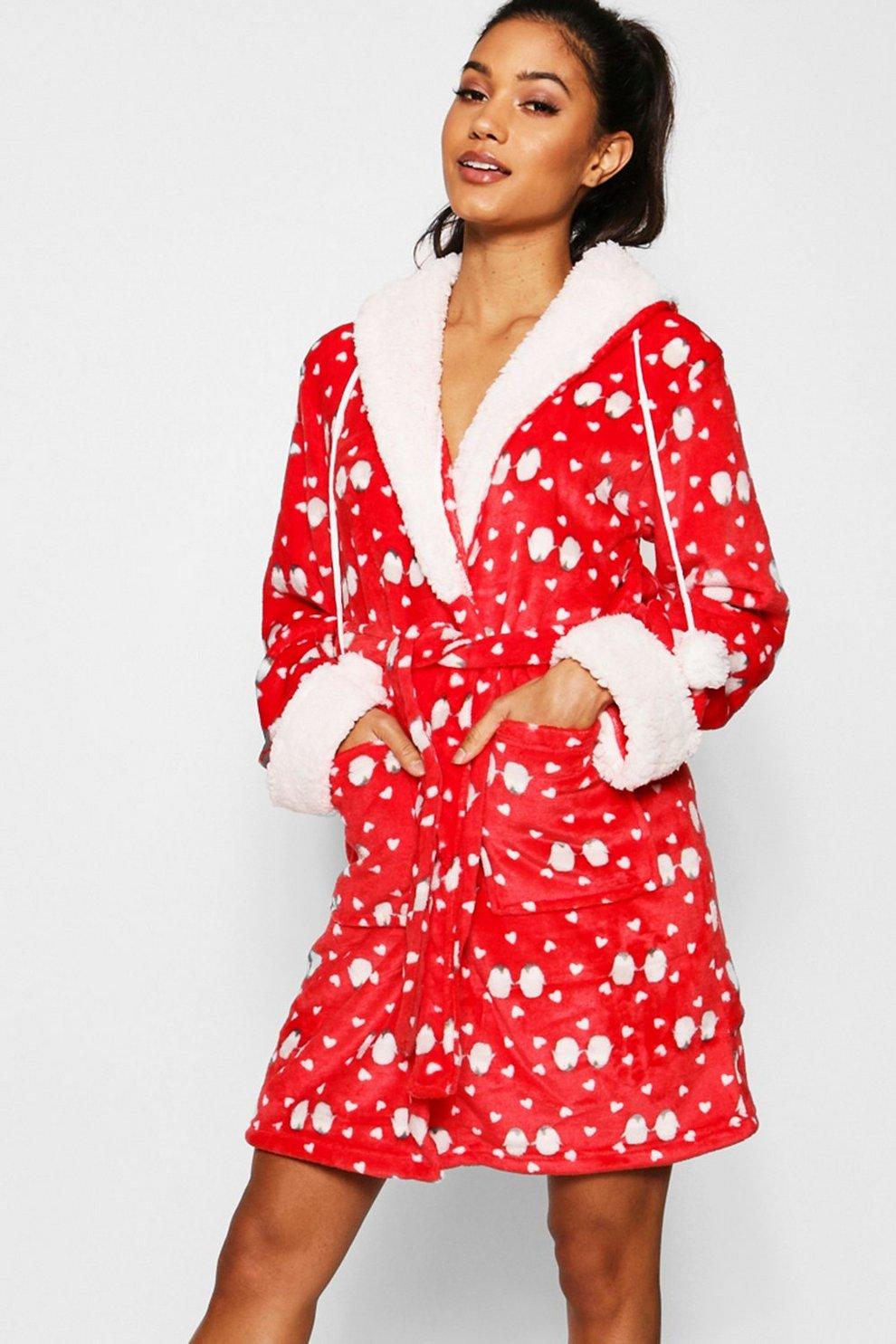 Slumber Hut/® Ladies Pug Dog Fleece Dressing Gown Luxury Flannel Hood Brown Novelty Womens Robe Velvet Soft UK 8-22