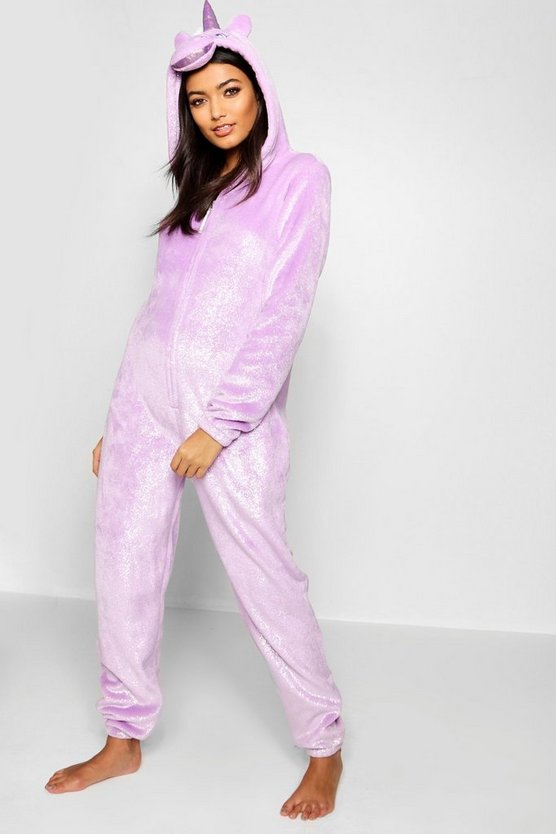 Womens Purple Shimmer Unicorn Onesie