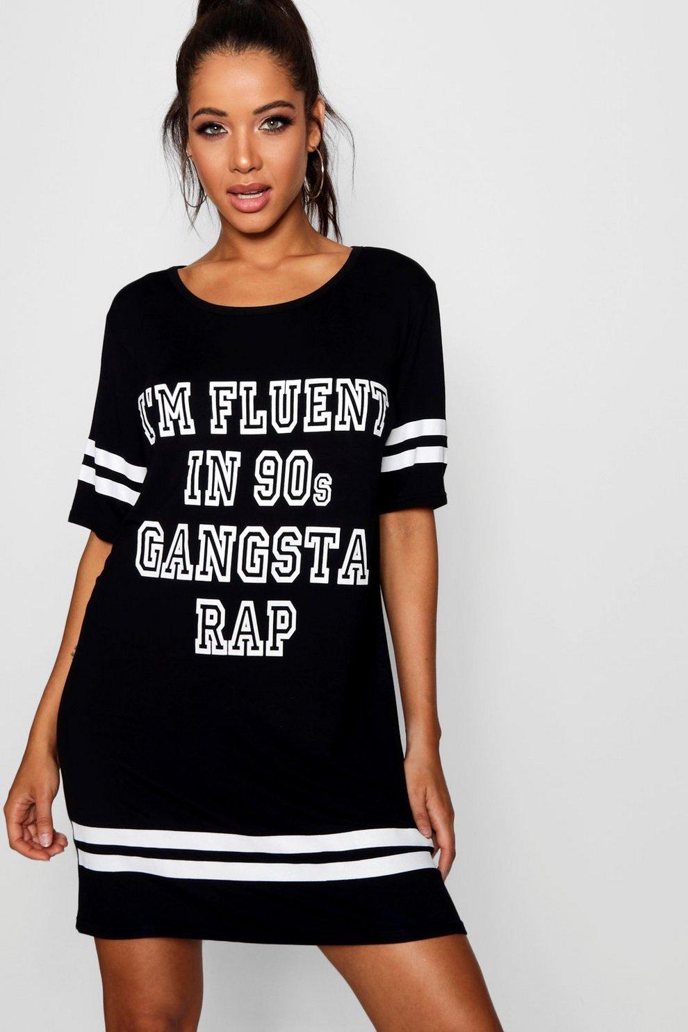 Kyla 90 S Gangsta Rap Sleep Tee Boohoo