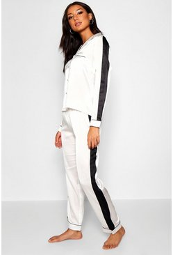 Womens Ivory Satin Stripe PJ's
