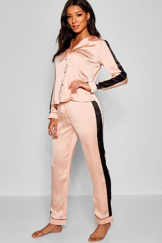 Womens Rose gold Satin Stripe PJ's