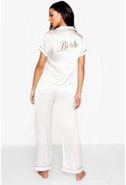Womens Ivory Bride Embroidered PJ's
