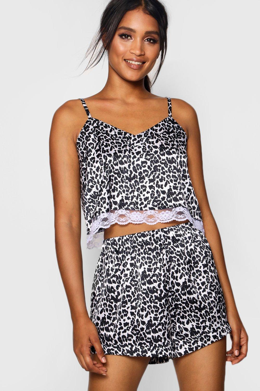 Satin Leopard Lace Set Jadene grey amp; Short qtOdxwZ