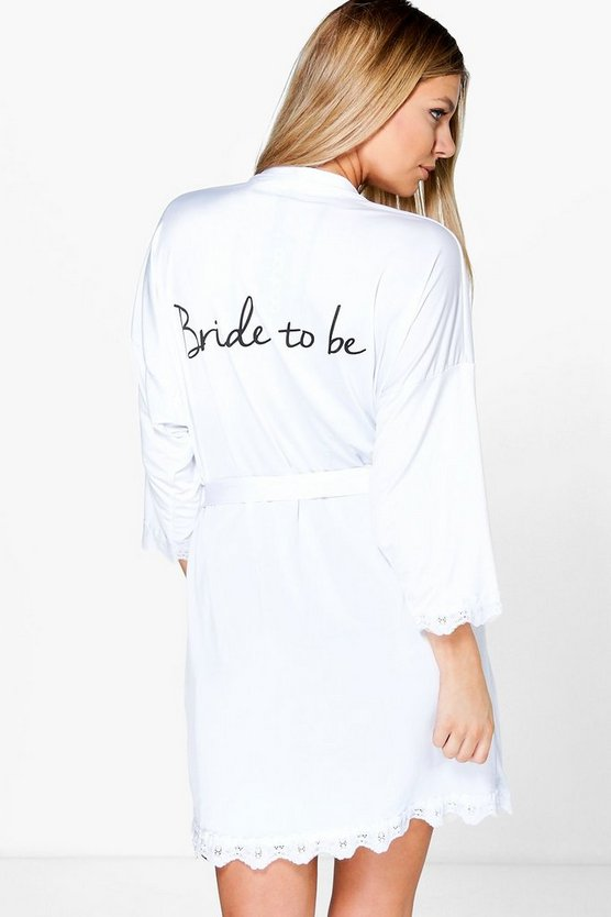 Womens White Abigail Bride Slogan Slinky Robe