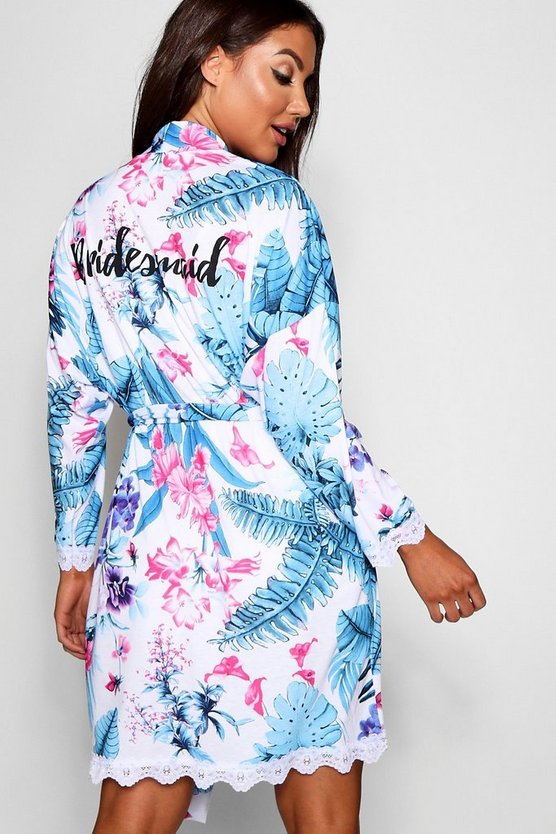Womens White Bridesmaid Tropical Floral Robe