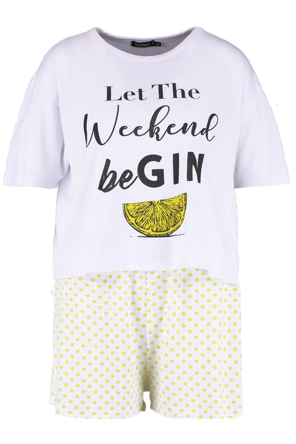 "pantalones de ""Let con Gin Weekend the pijama cortos estampado Be Conjunto con RtwxfdWdq"