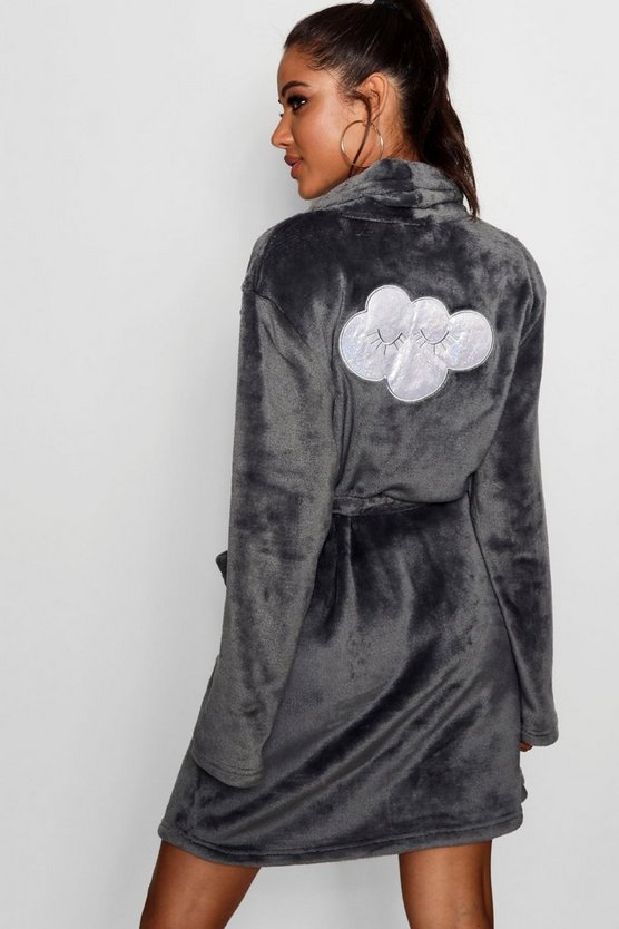 Womens Charcoal Eyelash Cloud Hooded Dressing Gown