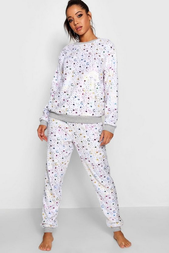 Womens White Foil Star Twosie