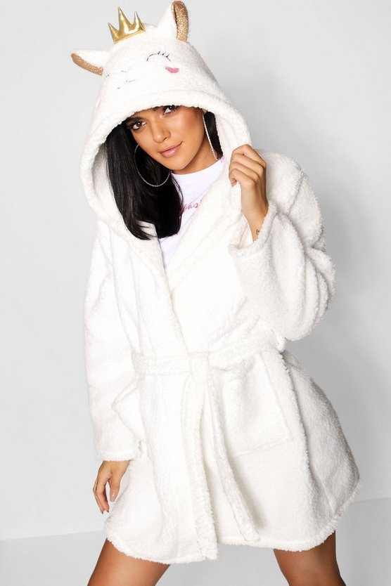 Womens Cream Fluffy Lamb Dressing Gown