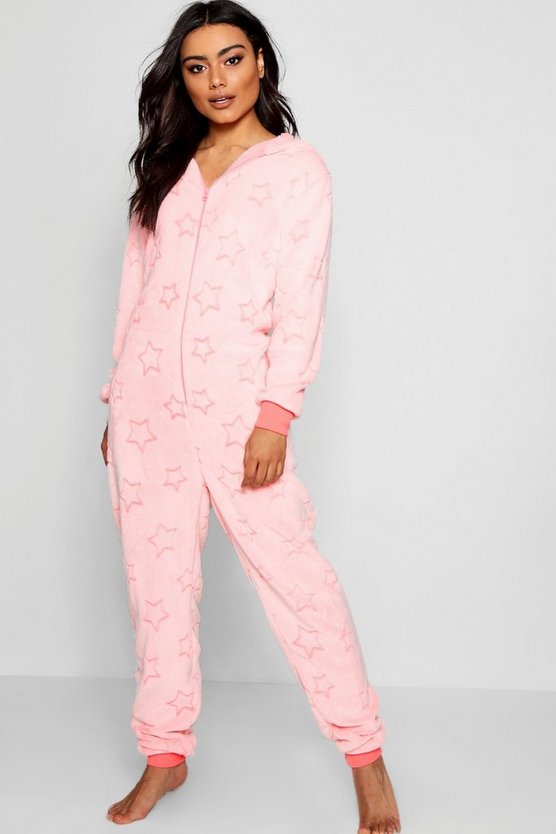 Womens Pink Burnout Star Onesie