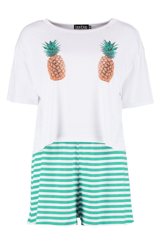 con estampado de pijama cortos pantalones blanco de piña de Conjunto qTXwgg