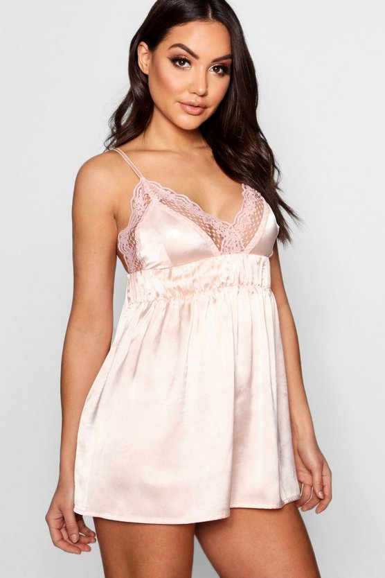 Womens Blush Ruched Lace & Satin Babydoll