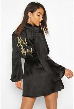 Womens Black Bride Squad Metallic Embroidered Robe