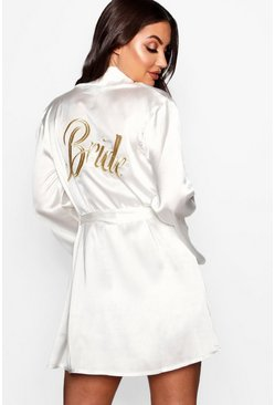 Womens Ivory Bride Metallic Embroidered Robe