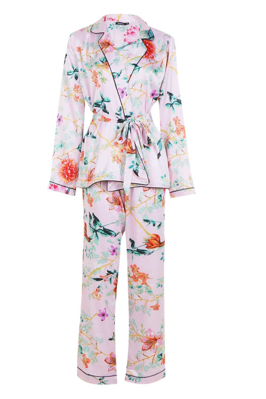 delante oriental con rosa y estampado floral por pijama Conjunto de cinturón 7aWfTWOq