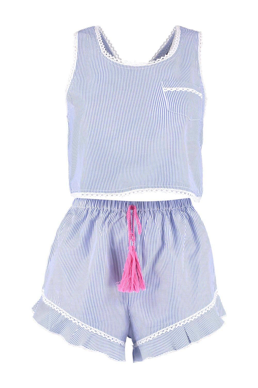 con azul Conjunto de de en rayas detalle camisola crochet cortos pantalones amp; rq0wndPfwa