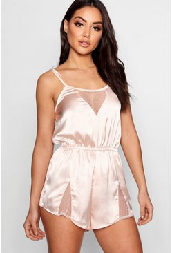 Womens Blush Spot Mesh & Satin Teddy