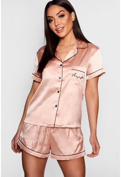 Womens Rose gold 'Sleep' Embroidered Satin Short Set