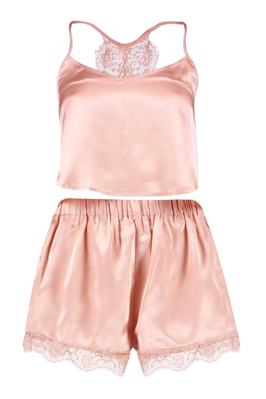 encaje satén de Conjunto con detrás por en rosado camisola oro short amp; nrXAYwAq0
