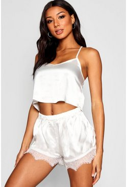 Womens Ivory Lace Racer Back Satin Cami & Short Set