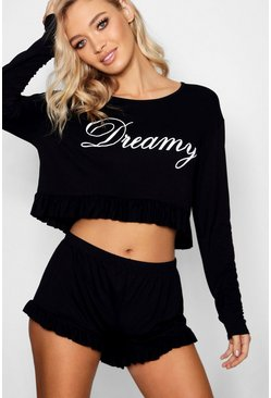 Dreamy Frill PJ Short Set, Black, Donna