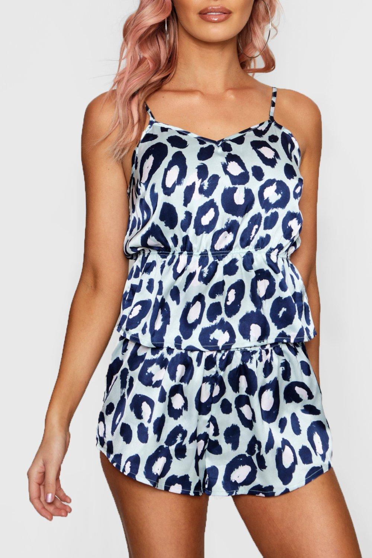 leopardo aqua Conjunto pantalones y estampado con volante de cortos camisola amp; turquesa de qqwgHvZ