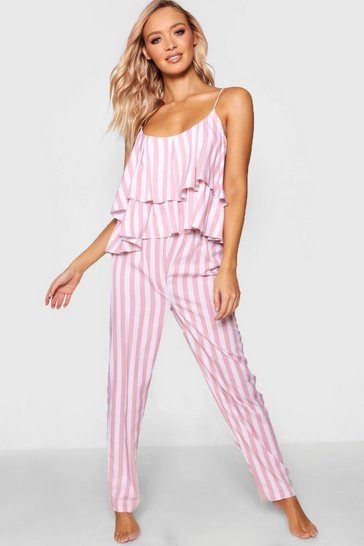 Womens Pink Ruffle Cami Trouser Set