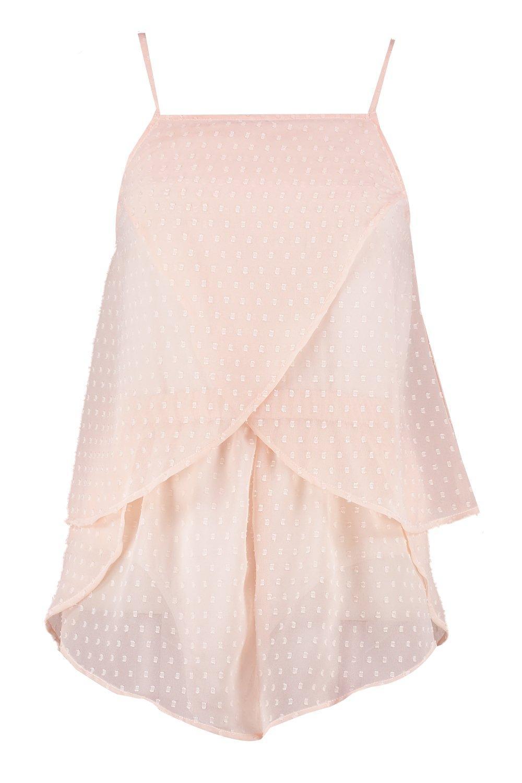 Conjunto rosa de de cortos pantalones volante tela de Dobby lunares con rqfvtrYw